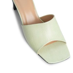 NWT BY FAR Lily lizard-effect green leather mules